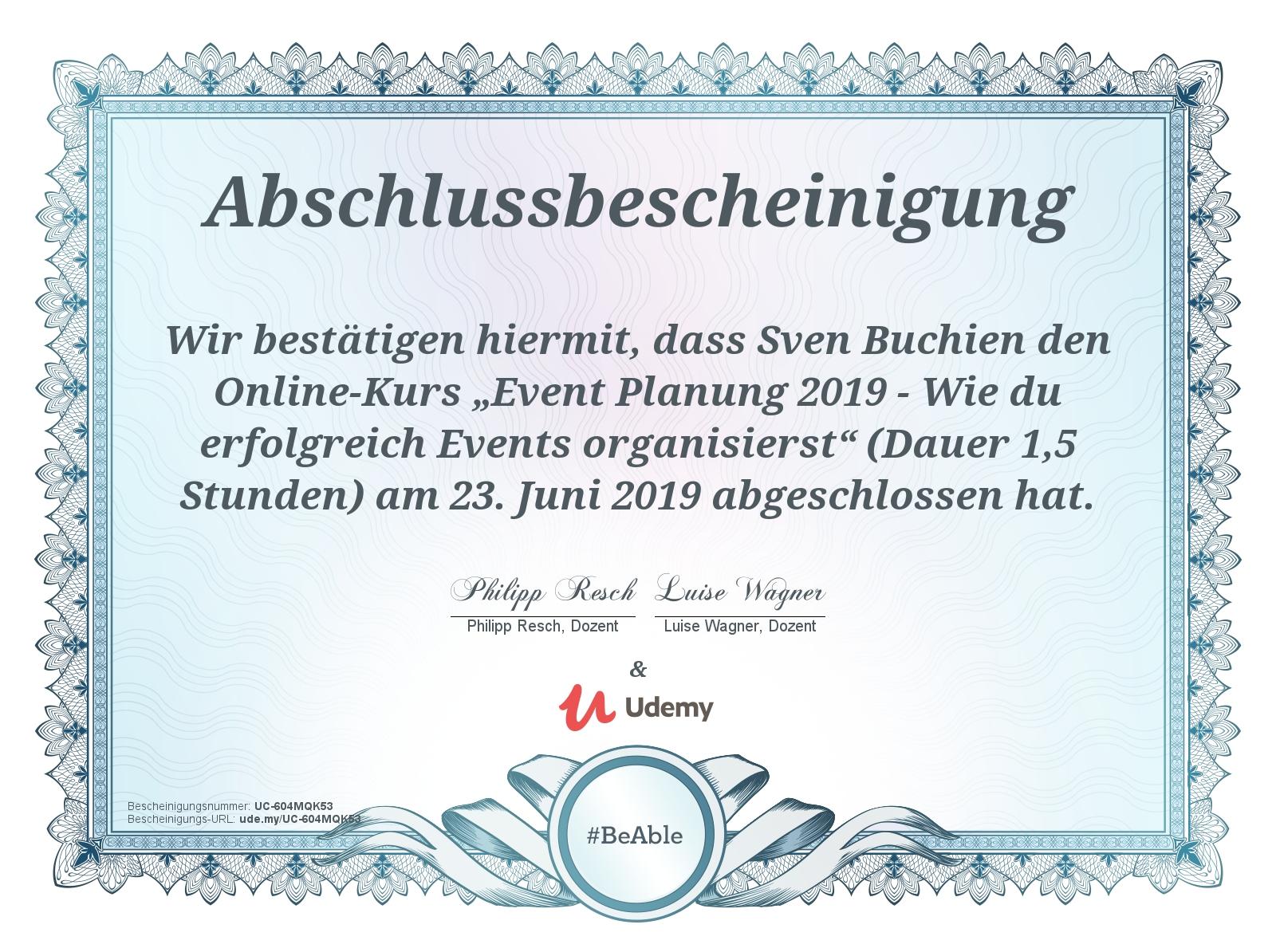 Zertifikat Event-Planer
