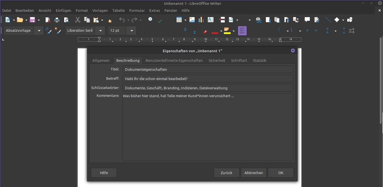 Bild der Dokumenteigenschaften in Libre Office
