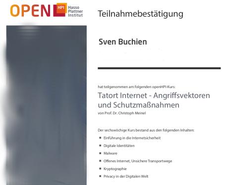 Teilnahmebestätigung zum Thema Internetsicherheit bei open HPI